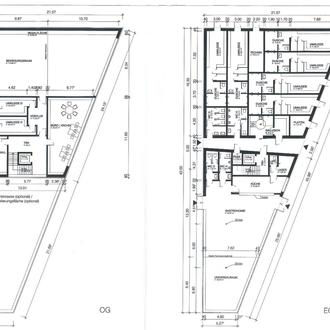 Plan der neuen Klubheims, Kanbinen und Funktiionsräume