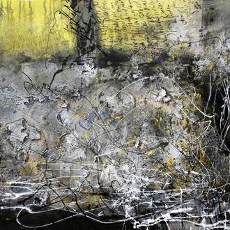 Zerpflückte Rosen; Acryl/Collage auf Leinwand, 2014, 80 x 60 cm (Gedicht von Max Beilhack).