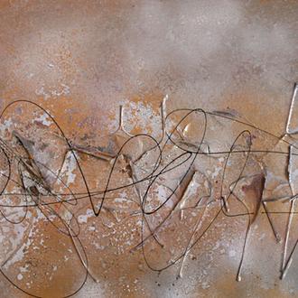 Lebendes Fossil (Ginkgo biloba), Acryl/Lack/Collage auf Leinwand, 2014, 80x40 cm