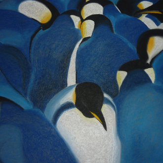 "Kaiserpinguine in der Antarktis, 70x100, 2011, Pastellkreide, Motiv aus ""Pinguin"", Frans Lanting, 2011"