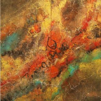 Africa III, Rost, Acryl auf Holz, 60x90 cm (2 Teile mit 30x90 cm), 2018