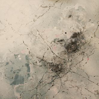 Weißer Nebel, 2018, Mixd Media auf Emaille-Platte, 44x46 cm