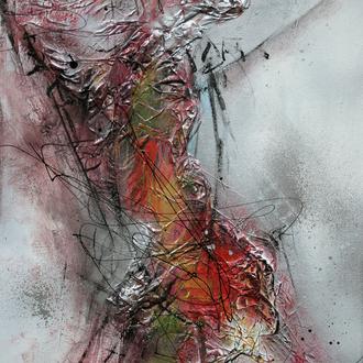 """Glut  - Zyklus """"Vom Werden und Vergehen""""; Acryl/Collage auf Leinwand, 2014, 30x40 cm"""