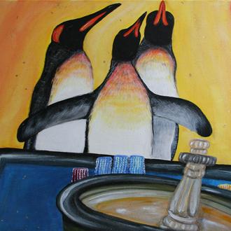 """Casino Baden - Kaiserstadt, """"Pinguine im Goldrausch"""", 80x60, 2012, Acryl auf Leinwand"""