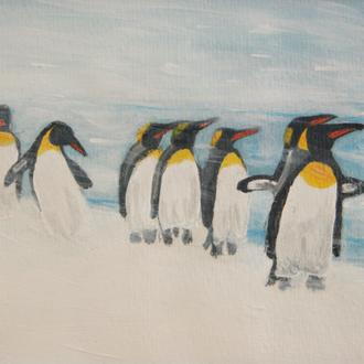 gut gelaunt im Schneesturm, 10x15, 2012, Acryl auf papier