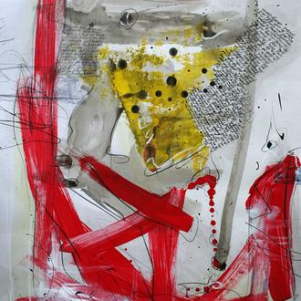 """Alvarez-Szenario """"Vom Werden und Vergehen""""; Acryl auf Karton, 2014, 60 x 80 cm (aus """"Der Wert der Vielfalt, Edward O. Wilson"""", Meteoritenhypothesen Seite 38/39)."""