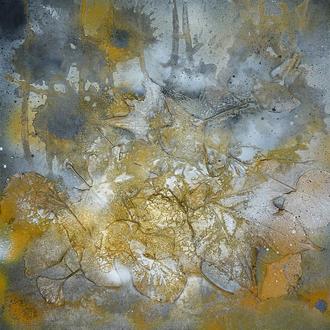 buntes Herbsttreiben, Acryl/Lack/Collage auf Leinwand, 2014, 50x50 cm