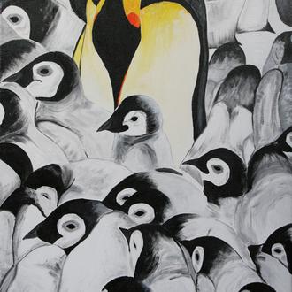"Pinguinkolonie, 40x60, 2008, Motiv aus ""Pinguin"", Frans Lanting, 2011, Acryl auf Leinwand"