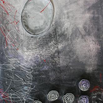 """Der Weg des Absurden I – Zyklus """"Albert Camus, Der Mythos von Sisiphos. Ein Versuch über das Absurde""""; Acryl/Collage auf Leinwand, 2014,  80 x 40 cm (Kapitel """"Die Schöpfung ohne ein Morgen"""")."""