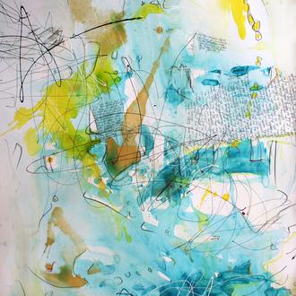 """Die elementare Einheit - Zyklus """"Vom Werden und Vergehen""""; Acryl auf Papier, 2014, 100 x 70 cm,  (aus """"Der Wert der Vielfalt, Edward O. Wilson"""" Das Wunderbare Rätsel des Lebens)."""