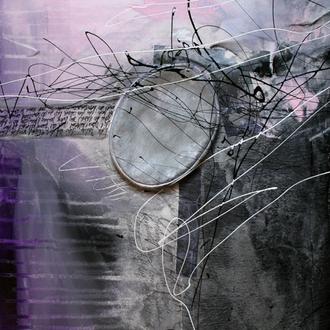 """Der Weg des Absurden II – Zyklus """"Albert Camus, Der Mythos von Sisiphos. Ein Versuch über das Absurde""""; Acryl/Collage auf Leinwand, 2014,  80 x 40 cm (Kapitel """"Die Schöpfung ohne ein Morgen"""")."""