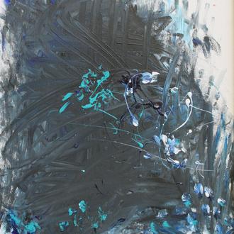 Blaue Wildbachrebe, 50x60, 2008, Acryl auf Malplatte - blind malen