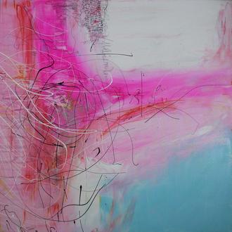 """Aufblühender Stern - Zyklus """"Vom Werden und Vergehen""""; Acryl auf Leinwand, 2014, 70x70 cm, ( Text aus Geo Wissen Nr. 33 """"Die Geheimnisse des Universums"""")."""