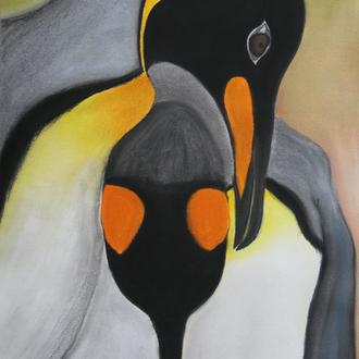 """Zärtliche Worte flüstern, 36x48, 2011,  Motiv aus """"Pinguine"""",Rouse & Rich, 2011, Pastellkreide"""
