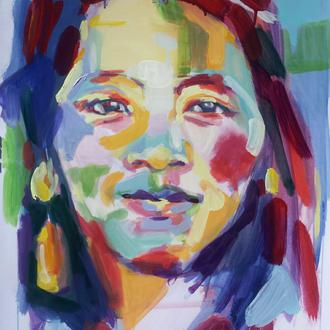 portrait d'Emy, peinture de Séverine Saint-Maurice, lescerclesdelumiere.com