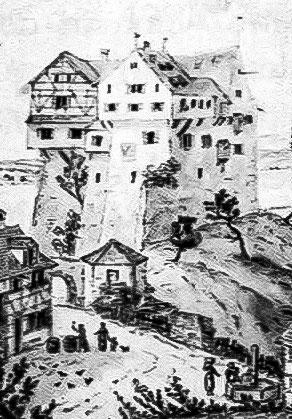 Schloss Salenstein 1824, vor dem Abbruch der Neuburg. Kupferstich von N. Hug