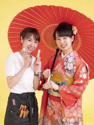 スタジオ夢物語札幌では着付け、ヘア、メイク、撮影のスタッフが素敵な成人記念を残します