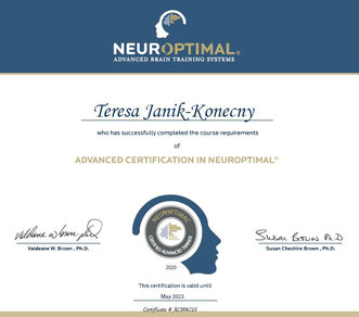 "Zertifikat ""Advanced Certification in NeurOptimal®"""