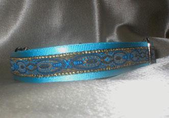Martingale, Halsband, 2,5 cm, Gurtband eisblau, edle Borte