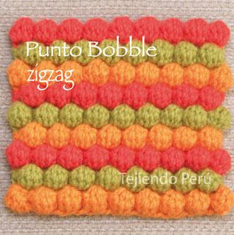 Punto bobble en zigzag tejido a crochet (crochet bobble stitch)