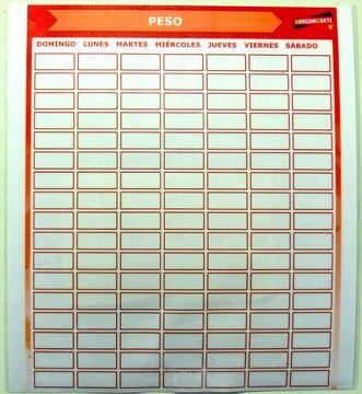 tabla de registro diario de peso - AorganiZarte.com