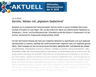 """Derichs: Walzen mit """"digitalem Gedächtnis"""""""