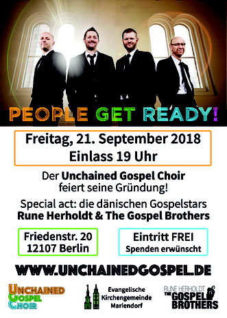Flyer zur Auftaktparty feat. Rune Herholdt & The Gospel Brothers (DK) am 21.09.2018