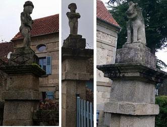 Les trois sculptures du mur de la courette