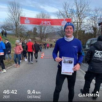 Rudi nach seinem Lauf in Seubersdorf am 31.12.2019
