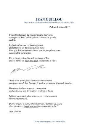 Copia dell'autografo del M° Jean Guillou con traduzione