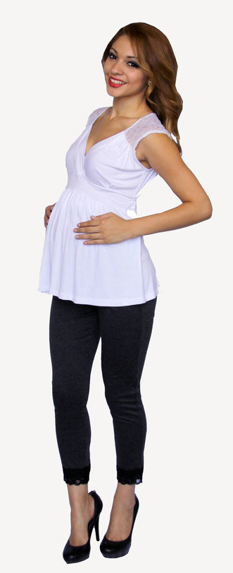 sleeveless white maternity top