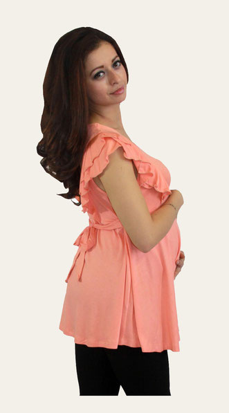 TM Maternity Top Model 4008 Sleeveless - Coral