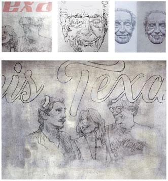PARIS-TEXAS- - acrylique pigment, graphite et pastel sur papier - 30x42 cm