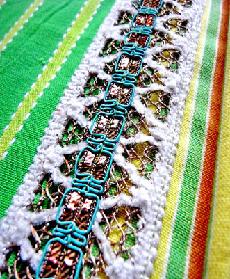 Close up of white cotton, metallic thread lace, & teal green & bronze decorative ribbon sewn on top.