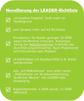 Zusammenfassung Änderungen der LEADER-Richtlinie
