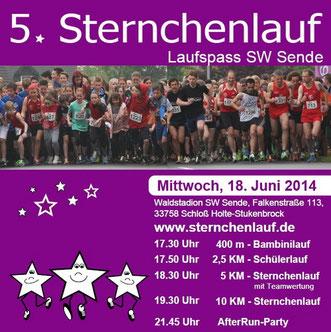 Plakat des Sternchenlauf des SW Sende