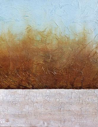 Acryl Mischtechnik mit Ton/ Landschaft /  Februar 2020 / 80x100
