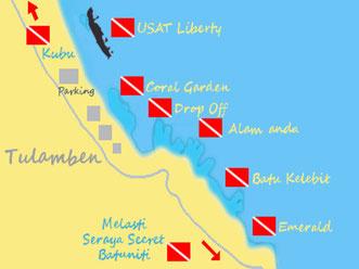 Carte des meilleures plongées de Tulamben à Bali, épave du liberty, coral garden, drop off, alamanda, batu kelebit, emerald, seraya secret, kubu.