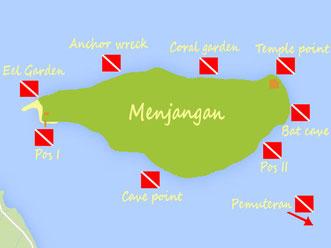carte des meilleures plongées de Menjangan à Bali