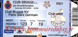 Ticket  Club Bruges-PSG  2006-07
