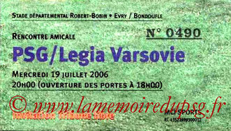 Ticket  PSG-Legia Varsovie  2006-07
