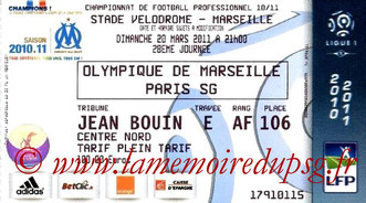 Ticket  Marseille-PSG  2010-11