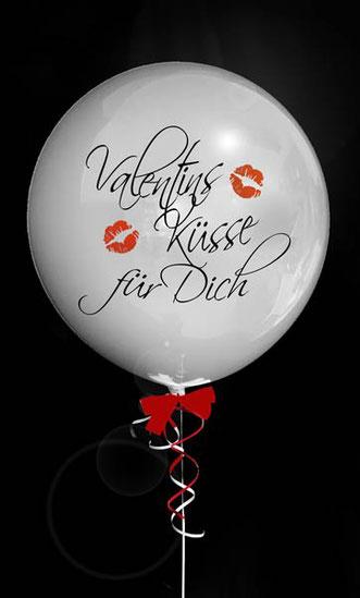 Valentinsküsse für Dich Valentinstag Geschenk Ballon Luftballon Heliumballon Bubble elegant Überraschung Mitbringsel