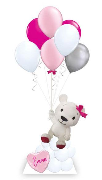 Ballon Luftballon Heliumballon Deko Dekoration Überraschung Mitbringsel Ballonpost Ballongruß Versand verschicken rosa Teddy Bär Plüschtier Geburtstag happy birthday Geschenk Idee Ballonpost Wolke Bouquet Plüschtier süß Kuscheltier Versand Name