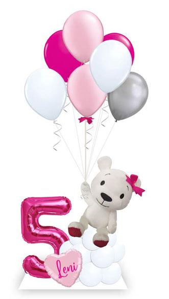 Ballon Luftballon Heliumballon Deko Dekoration Überraschung Mitbringsel Ballonpost Ballongruß Versand verschicken rosa Teddy Bär Plüschtier Geburtstag happy birthday Geschenk Idee Ballonpost Wolke Bouquet Plüschtier süß Zahl Versand Name