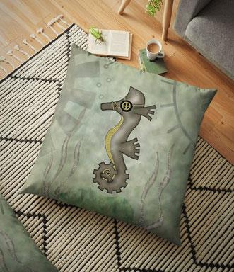 Steampunk Seahorse Floor Pillow