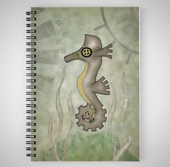 Steampunk Seahorse Spiral Notebook