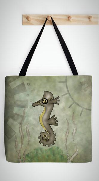 Steampunk Seahorse Tote Bag