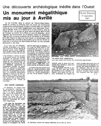 Un monument mégalithique mis au jour à Avrillé OUest France 1987