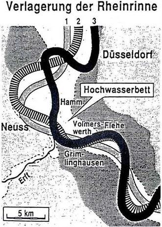 Verlagerung der Rheinrinne Verlagerung der Rheinrinne von der Römerzeit (1) über das Mitelalter (2) bis heute (3).